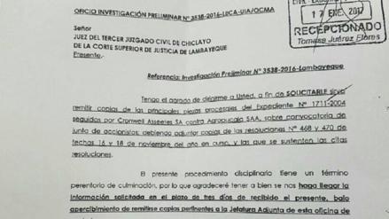 OCMA inicia proceso disciplinario a juez Siaden por caso Pucalá