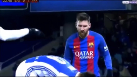 Lionel Messi se enfureció e insultó a Yuri luego de ser agredido con un pelotazo