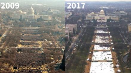 La toma de mando de Barack Obama comparada con la de Donald Trump