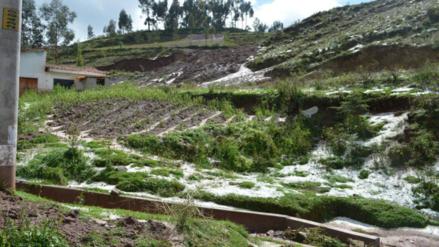 Viviendas y campos de cultivo afectados por granizada en Poroy