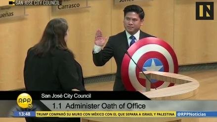 Un concejal de EE.UU. juró al cargo con el escudo del Capitán América