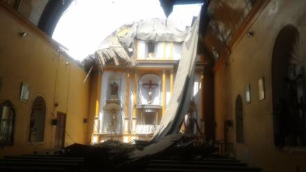 Colapsó el techo de la iglesia de Huaral y asustó a vecinos