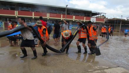Personal de la Fuerza Aérea del Perú apoyó a evacuar aguas de lluvia