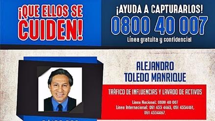 El Gobierno ofreció 100,000 soles de recompensa por Alejandro Toledo