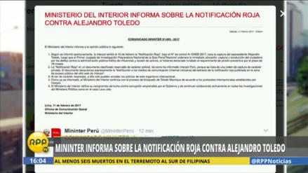 El Mininter aclara información sobre Alejandro Toledo en la web de Interpol