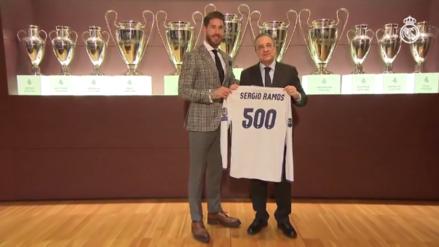 Sergio Ramos fue reconocido por el Real Madrid tras jugar 500 partidos