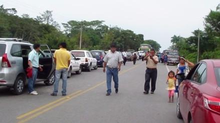 Carretera Belaunde Terry bloqueado por protestas en Rioja y Picota