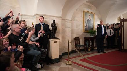 Fotos | Donald Trump apareció de sorpresa en un tour a la Casa Blanca