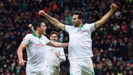 Claudio Pizarro anotó el empate para el Werder Bremen ante el Leverkusen