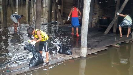 Iquitos: niños del distrito de Belén limpian zona baja y río Itaya