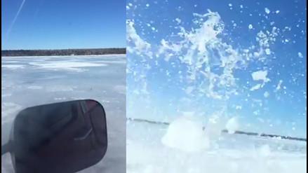 Quisieron cruzar sobre un lago congelado pero acabaron hundiéndose