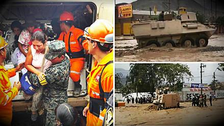500 personas fueron rescatadas con vehículos anfibios de la Marina en Huachipa
