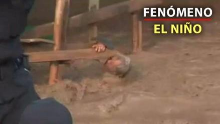 Un hombre se salvó de ser arrastrado por el huaico en Huachipa