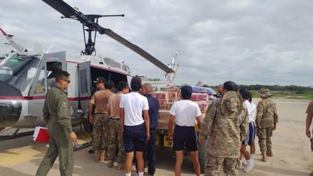 Helicópteros trasladan 12 toneladas de alimentos hacia la sierra de La Libertad
