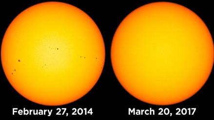 Imágenes de la NASA revelan superficie solar sin manchas