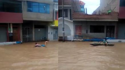 Desborde del río Virú provoca que pobladores se movilicen de esta forma