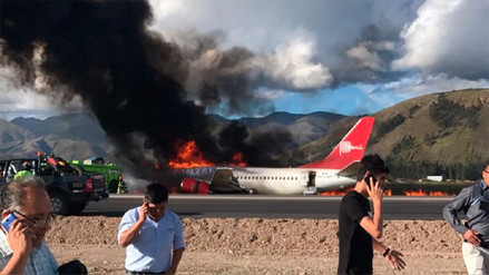 Un avión de Peruvian Airlines se incendió en el aeropuerto de Jauja