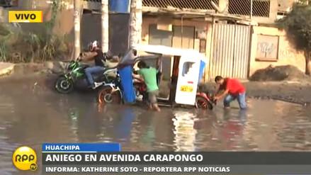 Aniego en avenida Carapongo por desborde de acequia