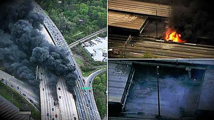Incendio provocó el colapso de una autopista interestatal en Estados Unidos