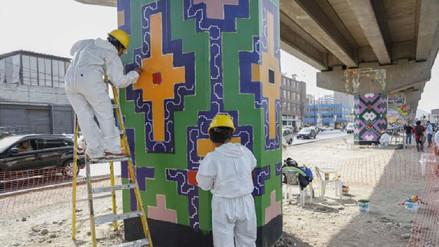 Comunidad shipibo conibo expone su arte en columnas del Metro de Lima
