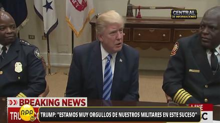 La reacción de dos bomberos cuando Trump hablaba de la bomba en Afganistán