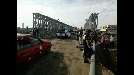 Coishco: puente bailey se inunda tras rotura de tuberías de agua