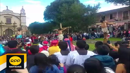 Escenifican Pasión y Muerte de Cristo en plaza mayor de Cajamarca