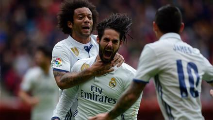 Real Madrid ganó de visita al Sporting de Gijón con doblete de Isco