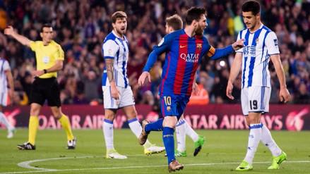 Lionel Messi marcó un doblete ante la Real Sociedad en el Camp Nou