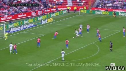 Isco se llevó a tres en el área del Gijón y marcó un golazo al ángulo