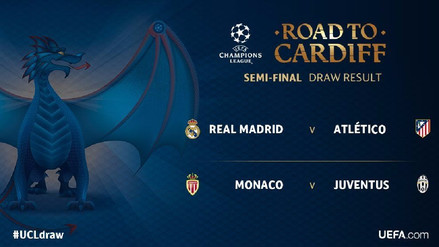 Real Madrid vs. Atlético y Juventus vs. Mónaco son las semifinales de Champions League