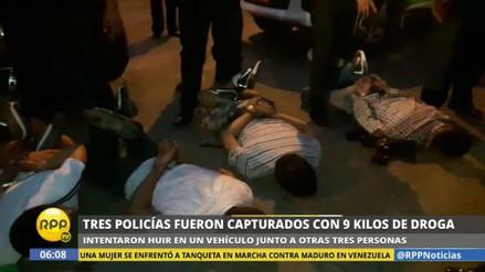 Capturan en Santa Anita a tres policías con nueve kilos de droga