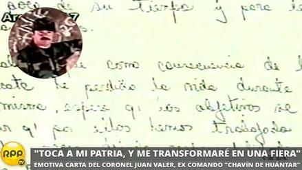 La carta del héroe Juan Valer antes de la operación Chavín de Huántar