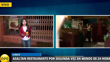 Asaltan restaurante por segunda vez en menos de 24 horas en Lince