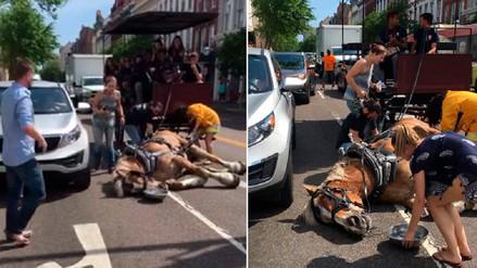 Un caballo cae al suelo mientras jalaba un carruaje lleno de turistas