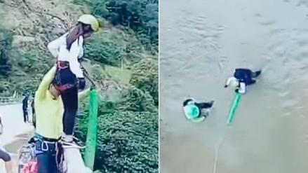 Mujer sufre aparatosa caída tras fallido intento de hacer 'puenting'