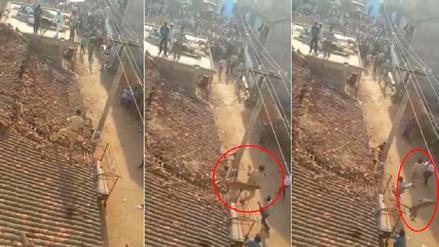 Hombre saltó desde un techo para evitar ser devorado por un leopardo