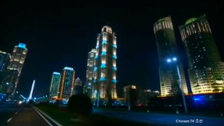 Corea del Norte y una impresionante vista nocturna de sus rascacielos