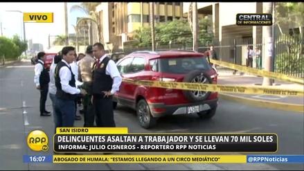Un hombre fue baleado por sujetos que le robaron S/ 70 mil en San Isidro