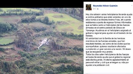 Gobernador regional de Piura iba en uno de los tres helicópteros que partieron a la sierra