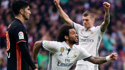 Marcelo enganchó en el área del Valencia y marcó un golazo para el Madrid