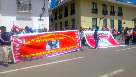 Obreros de construcción civil se movilizaron en el Día del Trabajador