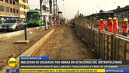 Malestar y congestión vehicular en SMP por obras de mejora del Metropolitano