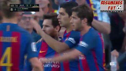 Luis Suárez enganchó a dos defensas del Villarreal y anotó un golazo