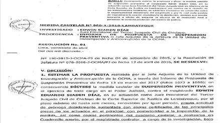OCMA suspende por seis meses a juez chiclayano Edwin Siadén Díaz