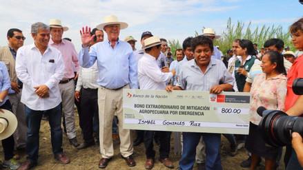 Gobierno inició entrega de bonos de S/ 1,000 por hectárea a agricultores afectados por El Niño