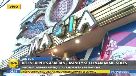 Delincuentes asaltan un casino en San Borja y se llevan S/40 mil