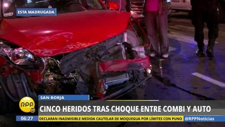 Una combi se pasó la luz roja y provocó un violento accidente en San Borja