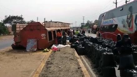 Huaral: despiste de tráiler dejó un herido en la Panamericana Norte