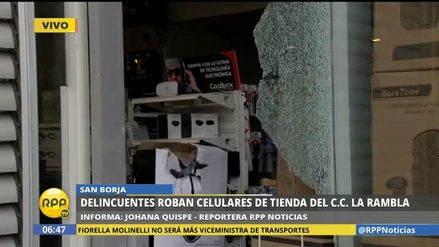Ladrones rompieron la luna de una tienda en San Borja y se llevaron celulares